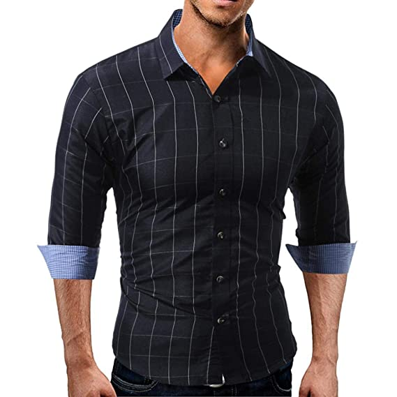 Camisetas de hombre del manga larga de corte slim para hombres Plaid de otoño de manga