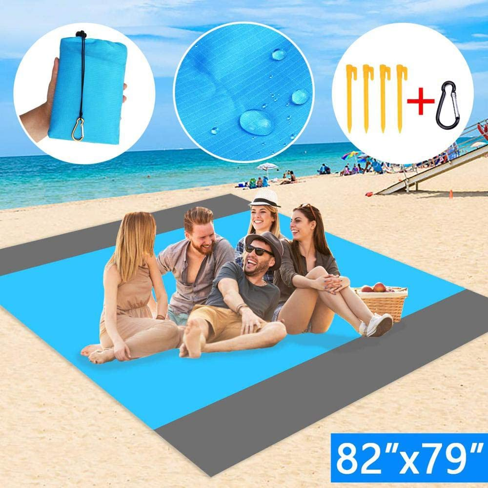 Hiking and Music Festivals Sand Blanket 82x79 Camping Lightweight Quick Drying Ripstop Nylon Compact Outdoor Beach Blanket Best Sand Proof Picnic Mat for Travel Oversize Sand Free Beach Blanket