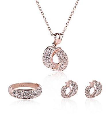 Amazoncom Sekayisore Rose Gold Faux Pearl Diamond Pendant Necklace