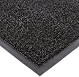 Notrax Non-Absorbent Fiber 231 Prelude Entrance Mat, for Outdoor and Heavy Traffic Areas, 3' Width x 5' Length x 1/4' Thickness, Black
