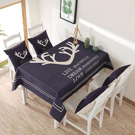 MIDUO - Manteles de Tela de algodón Grueso, diseño de Ciervo nórdico, 140 x 140 cm: Amazon.es: Hogar
