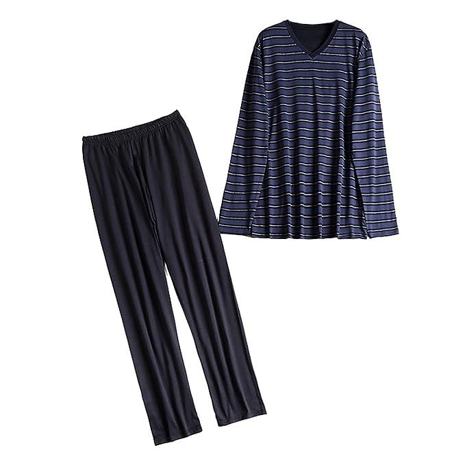 Juleya 2 piezas de pijamas de cuerpo entero cálido Jersey Top Lounge pantalones hombres regalo Size