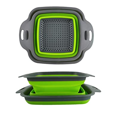 Collapsible Colander Set - 2 Folding Strainer Sizes 8  - 2 Quart and 9.5  - 3 Quart, Silicone Mesh and Plastic Handle(green) …