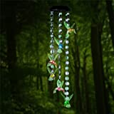 Changing Color Hummingbird+Bead Wind Chime, AceList Spiral Spinner Windchime Portable Outdoor Decorative Romantic Windbell Light for Patio, Deck, Yard, Garden, Home, Pathway