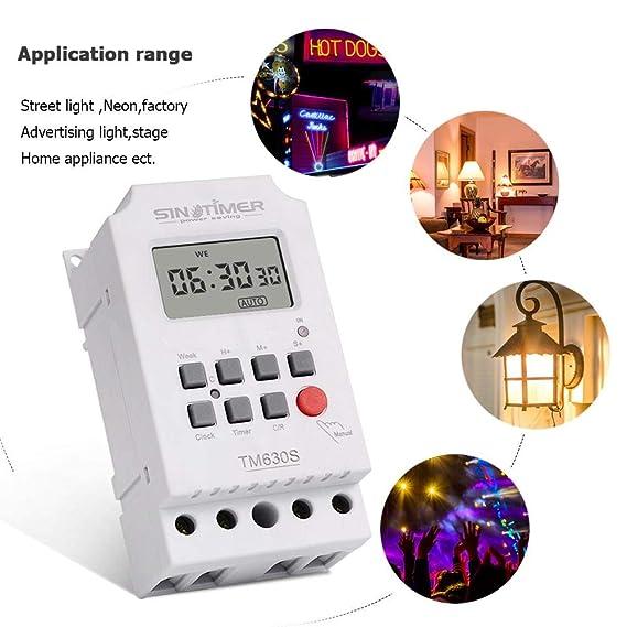 Matefield Reloj Programador semanal programable con Interruptor de Temporizador Digital LCD (12V): Amazon.es: Electrónica