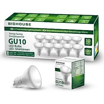 Bombillas LED GU10, 5W, 400lm, 3000K Blanco Cálido, Equivalente a Bombillas Halógenas