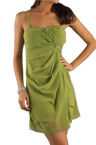 Gorgeous Bride Spaghetti Straps Short Chiffon Prom Dresses Exquisite-UK Size 6-Lime Green