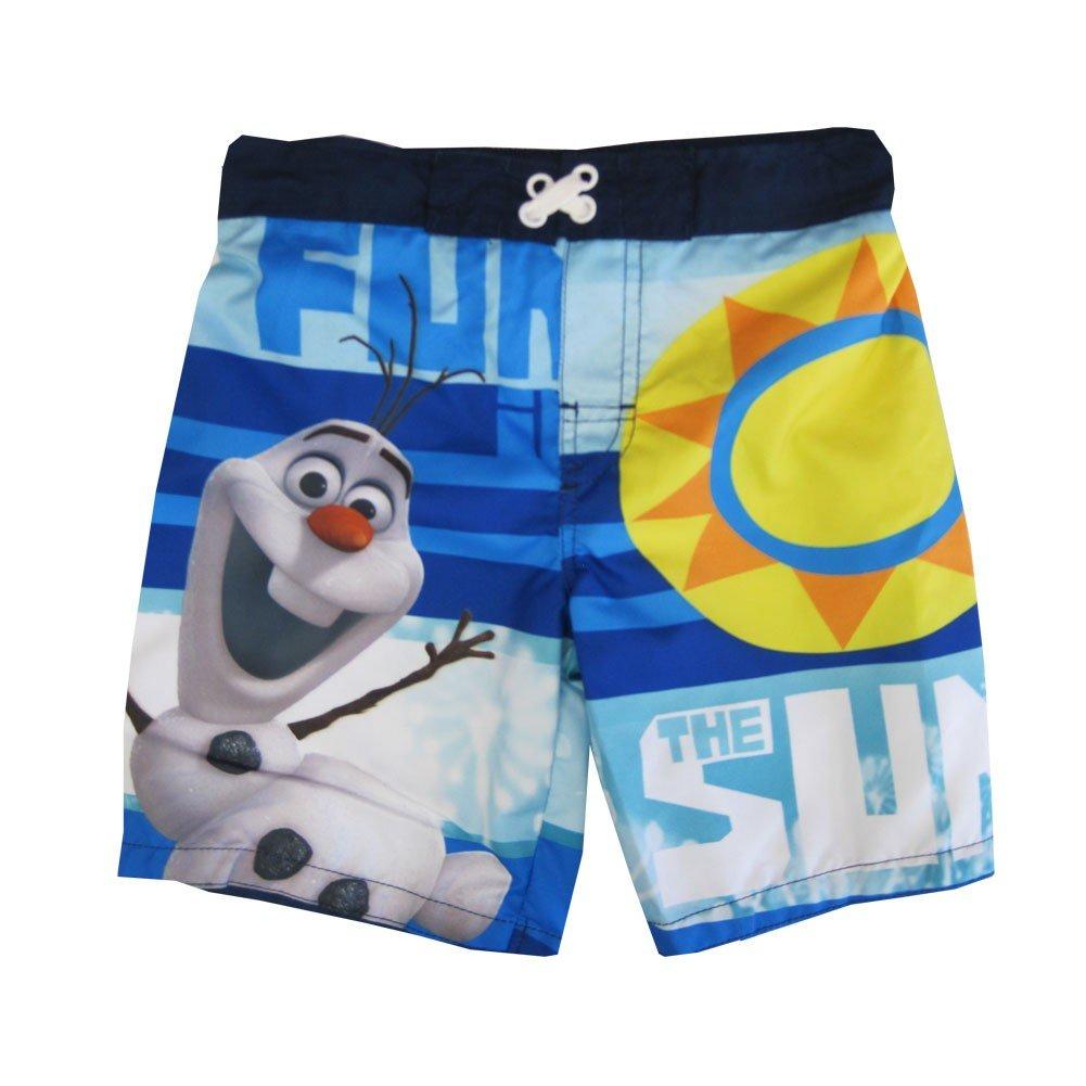 Disney Little Boys Blue Yellow Frozen Olaf Print Swim Shorts 4-7 ABC Brand Name