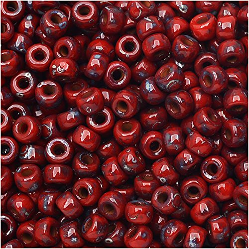 Czech Glass Matubo, 8/0 Seed Bead, 8 Gram Tube, Opaque Coral Red Picasso (Czech Opaque Seed Red)