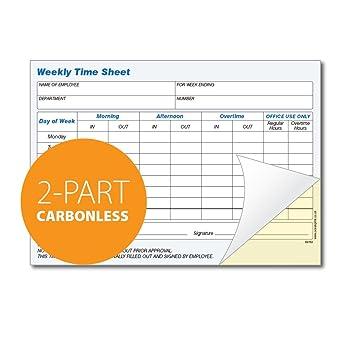 weekly employee time sheet pad 2 part carbonless duplicate white