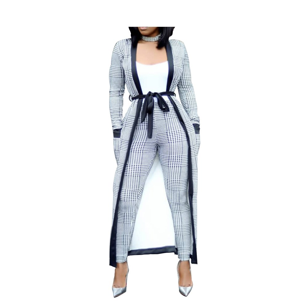 VERWIN Long Sleeve Plaid Tops and High Waist Skinny Pants Houndstooth Blazer Outfit 3 Sets M
