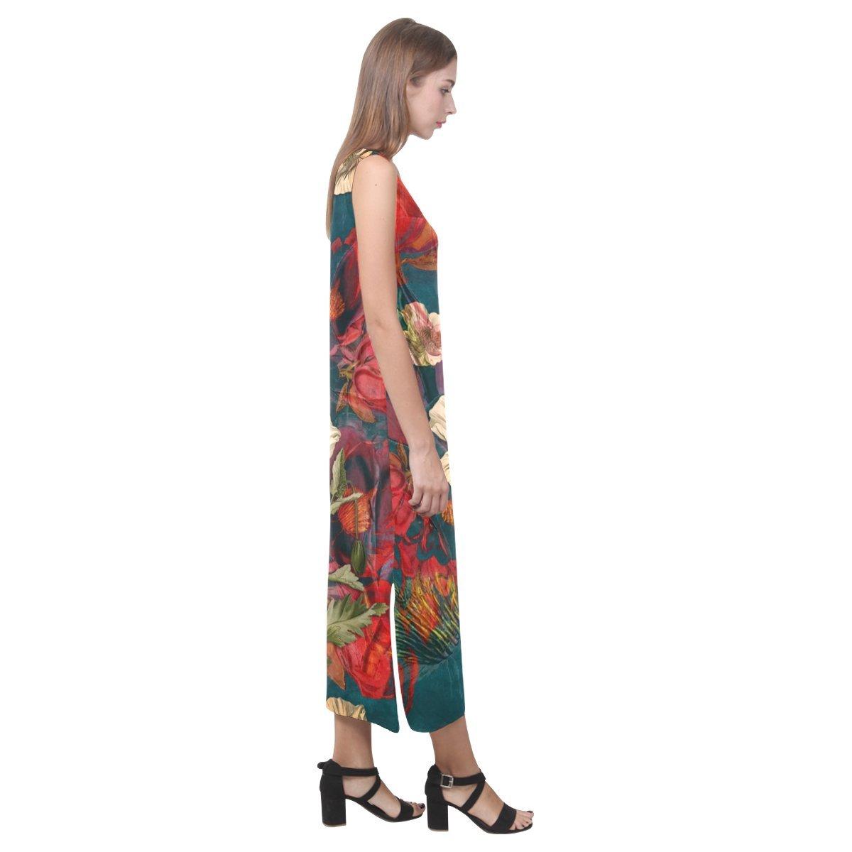 JC-Dress Sleeveless Dress Flora Party Beach Open Fork Long Dress