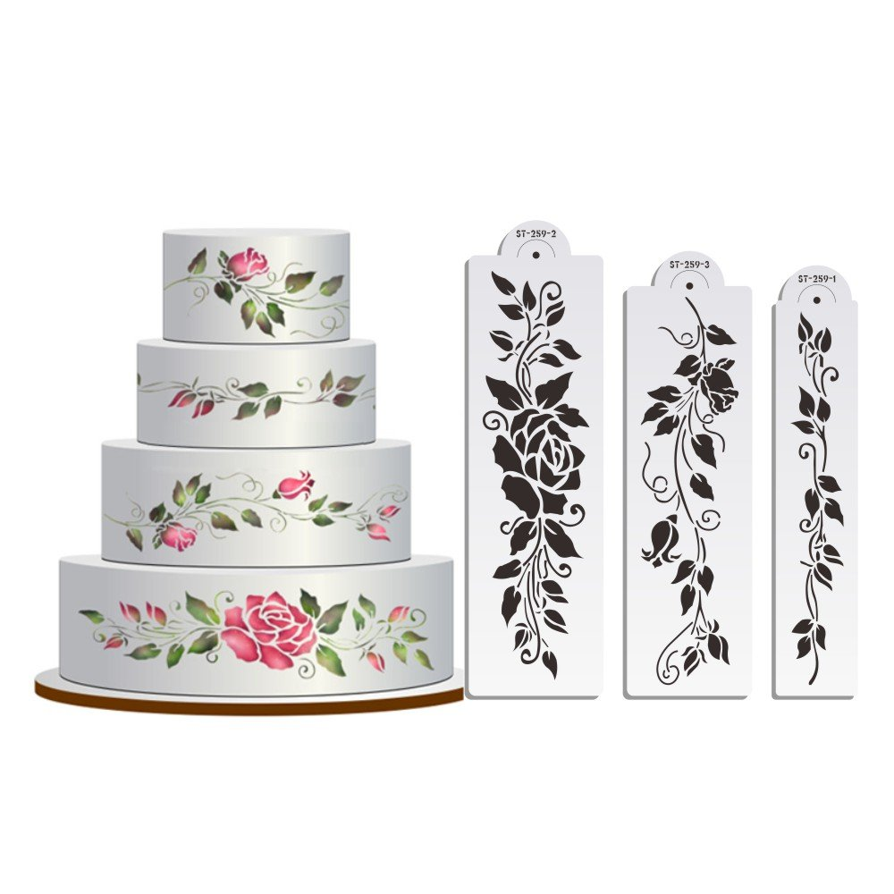 Rose Cake Stencil Set,Flowers Cake Mold Fondant Decorating Tools,Classic Cake Decoration, Wall Design Christmas Stencils ST-259