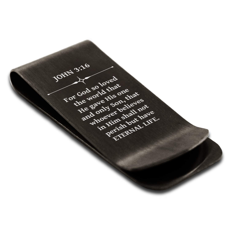 Stainless Steel Eternal Life John 3:16 Money Clip Credit Card Holder