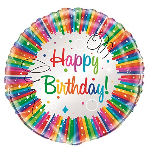 Foil Rainbow Ribbons Birthday Balloon