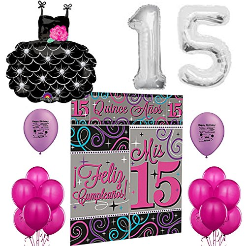 Mis Quince Anos Party Supplies Sweet 15 Pink and Black Elegant Balloon Room Decoration (Custom Scene Setters)