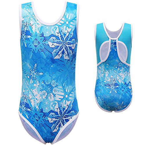 [BAOHULU Girls's One Piece Sparkle Gymnastics Tank Leotards--Sparkle Galaxy Butterfly Pumpkin Print Cosplay Costumes Halloween Clothes (Tag.No 12A (recommended age 11-12 Years), BlueSnowflake)] (Tumbling Dance Costumes)