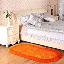 Wolala Home Modern Minimalist Oval Thickened Stretch Yarn Bedroom Carpet Super Soft Shaggy Rug Non-slip Livingroom Area Rug Solid Home Decorator Floor Rug Door Mats (Orange, 2'3x4'6)