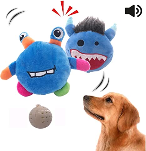 Prevent Boredom Best Gift for Puppy Dog Interactive Plush Toys,Dog Squeaky Automatic Ball Toys for Small to Medium Dogs