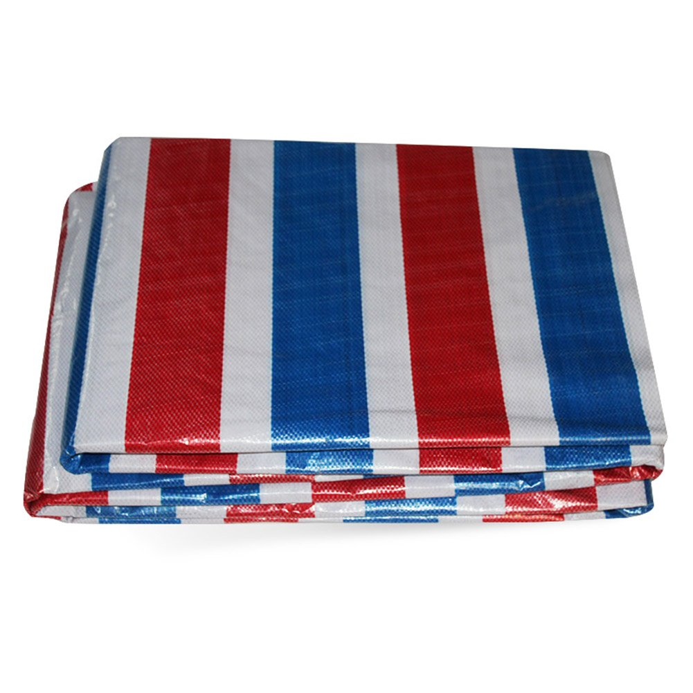 PJ Zelt Wasserdichtes Tuch Wasserdichte Plane Ground Sheet Covers Für Camping, Angeln, Gartenarbeit & Haustiere-Rot Blau Weiß Tricolor Streifen - 100 G/M² Es ist Weit verbreitet