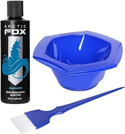 ARCTIC FOXArctic Fox Bundle con cepillo de tinte y cuenco, 100% vegano, tinte semipermanente para cabello, 4 oz o 8 oz, 4 Ounce, Aguamarina ...
