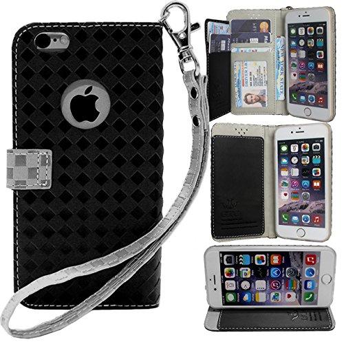 チョーク裁量エンコミウムapple iPhone 6S/6 4.7inch ケース 手帳型 カバー 手帳型 【GTO】お洒落な2トーンカラー オリジナルハンドストラップ&ネックストラップ付 3点セット PUレザー&高品質アンチグレアTPUケースを使用した手帳型PUレザーケース Ver3 ブラック