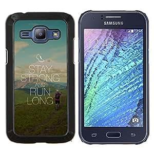 /Skull Market/ - Stay Strong And Run long For Samsung Galaxy J1 J100 J100H - Mano cubierta de la caja pintada de encargo de lujo -