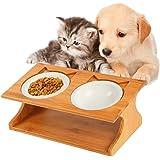 Royalcare 猫 食器 スタンド 陶器 小型犬えさ皿 食台 猫用フード 水 ボウル (35*17.5*13cm)