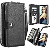 Galaxy Note 8 Case, Note 8 Wallet Case, Pasonomi Magnetic Detachable Removable Wallet Zipper PU Leather Folio Flip Carrying Case with Strap and Credit Card Slot for Samsung Galaxy Note 8 2017 (Black)