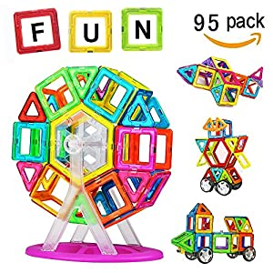 Crenova 95P Magnetic Building Blocks 95Pcs Construction Set Include Alphabet Number Cards Ferris Car Wheels Carrying Bag Bookl