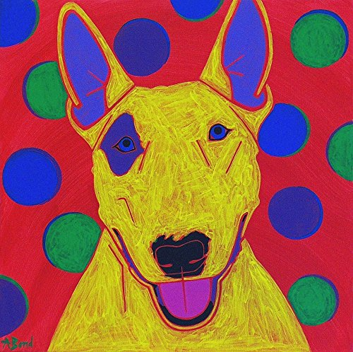 Clownish Bull Terrier Dog Art MATTED Print by Angela Bond Art (Art Terrier Bull)