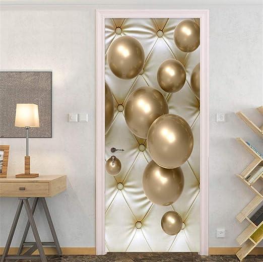 MYLOOO Etiquetas En Las Puertas Balón De Oro Tridimensional PVC ...