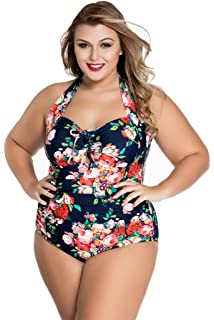 8e065b9c87f Chase Secret Womens One Piece Swimwear Retro Vintage Floral Monokini  Swimsuits Plus Size