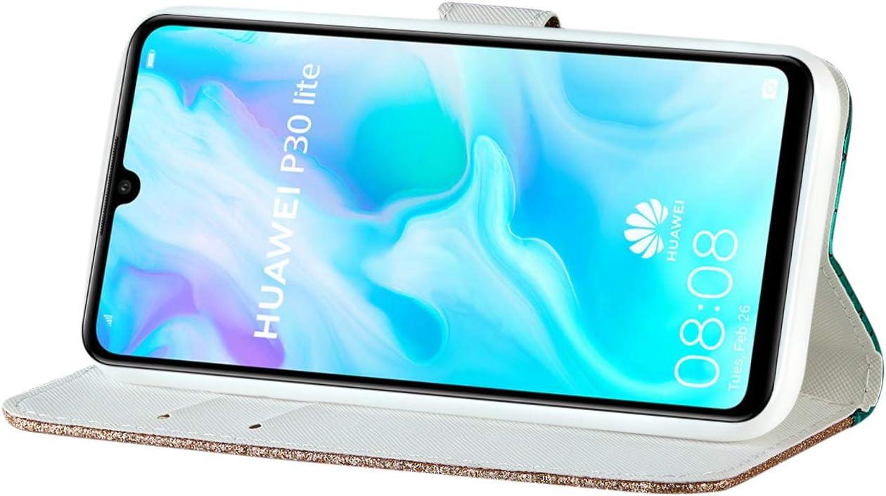ZCXG Compatible avec Coque Huawei P30 Lite Housse Cuir Laser Paillettes Couture Etui /à Ventouse Magn/étique Couvercle Fente Carte Case Full Cover Antichoc Argent