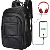 SAMAZ Laptop Backpack, Waterproof Leather, Travel Daypack School Bookbag, with USB Charging Port fit 11-16 inch Laptops (Black)