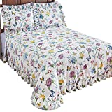 #2: Collections Butterfly Joy Floral Lightweight Plisse Summer Cotton Ruffle Bedspread, Queen