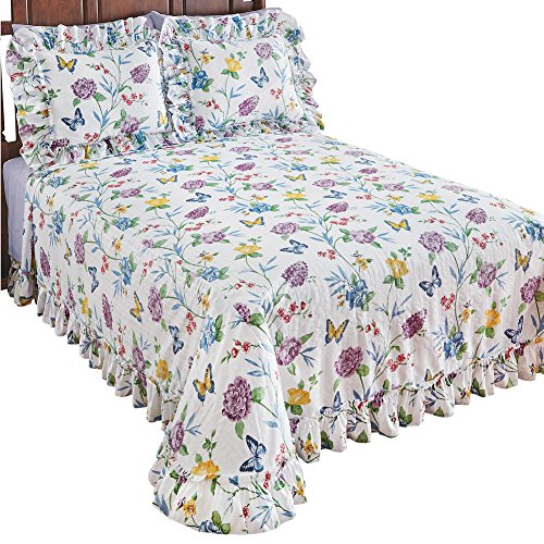 Big Save! Collections Butterfly Joy Floral Lightweight Plisse Summer Cotton Ruffle Bedspread, King