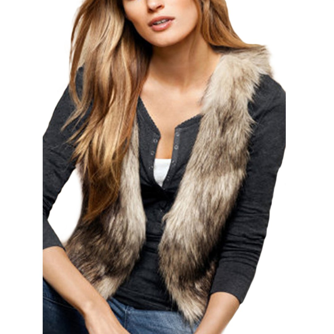 Women Faux Fur Jacket Sleeveless Brown Furry Outwear Coat Winter Short Vest