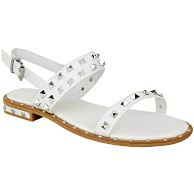 2f8963b65b578 Fashion Thirsty Heelberry® Womens Ladies Flat Studded Sandals Summer  Strappy Embellished Rock Shoes UK Size  Amazon.co.uk  Shoes   Bags