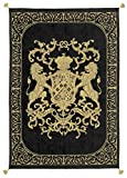 Adorabella Heraldic Black Throw, Crest design with woven Latin inscription translating to ''My Faith is My Glory'', 96'' x 69'' decorative home decor and bedroom throw made in Australia.