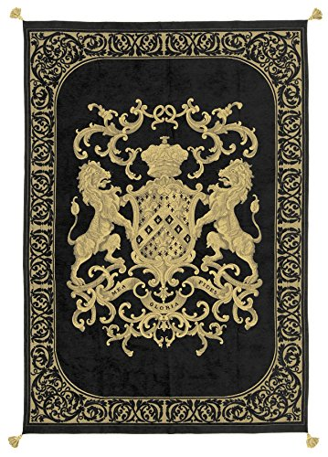 Adorabella Heraldic Black Throw, Crest design with woven Latin inscription translating to ''My Faith is My Glory'', 96'' x 69'' decorative home decor and bedroom throw made in Australia. by Adorabella