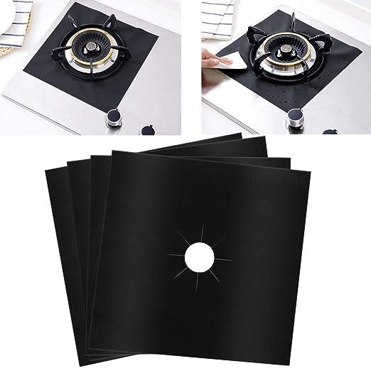 SelfTek 4pcs Cocina de gas pantalla hoja reutilizable antiadherente forro estufa protección Pad