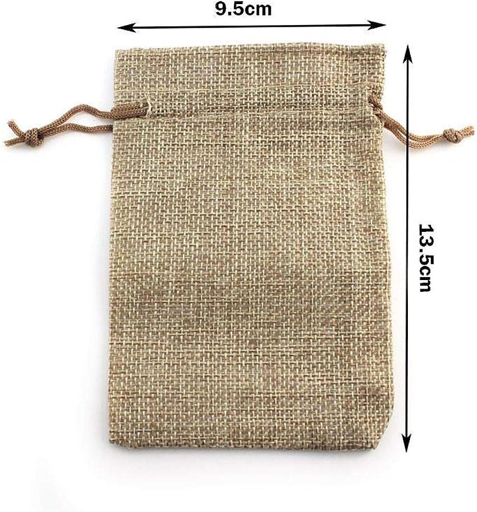 50 Pochette /à Bijoux Sac Cadeau 13,5cm x 9,5cm /à Cordon Coulissant Sachet en Jute RUBY