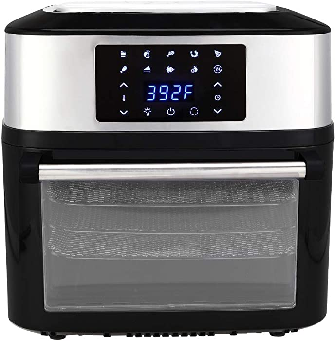 Z ZTDM ZOKOP 17 QT Electric Air Fryer ETL Listed 1800W All-in-One Air Fryer Oven, Rotisserie, Dehydrator, Oil-less Cooker, 8 Cooking Presets, 9 Accessories LED Touch Screen Black