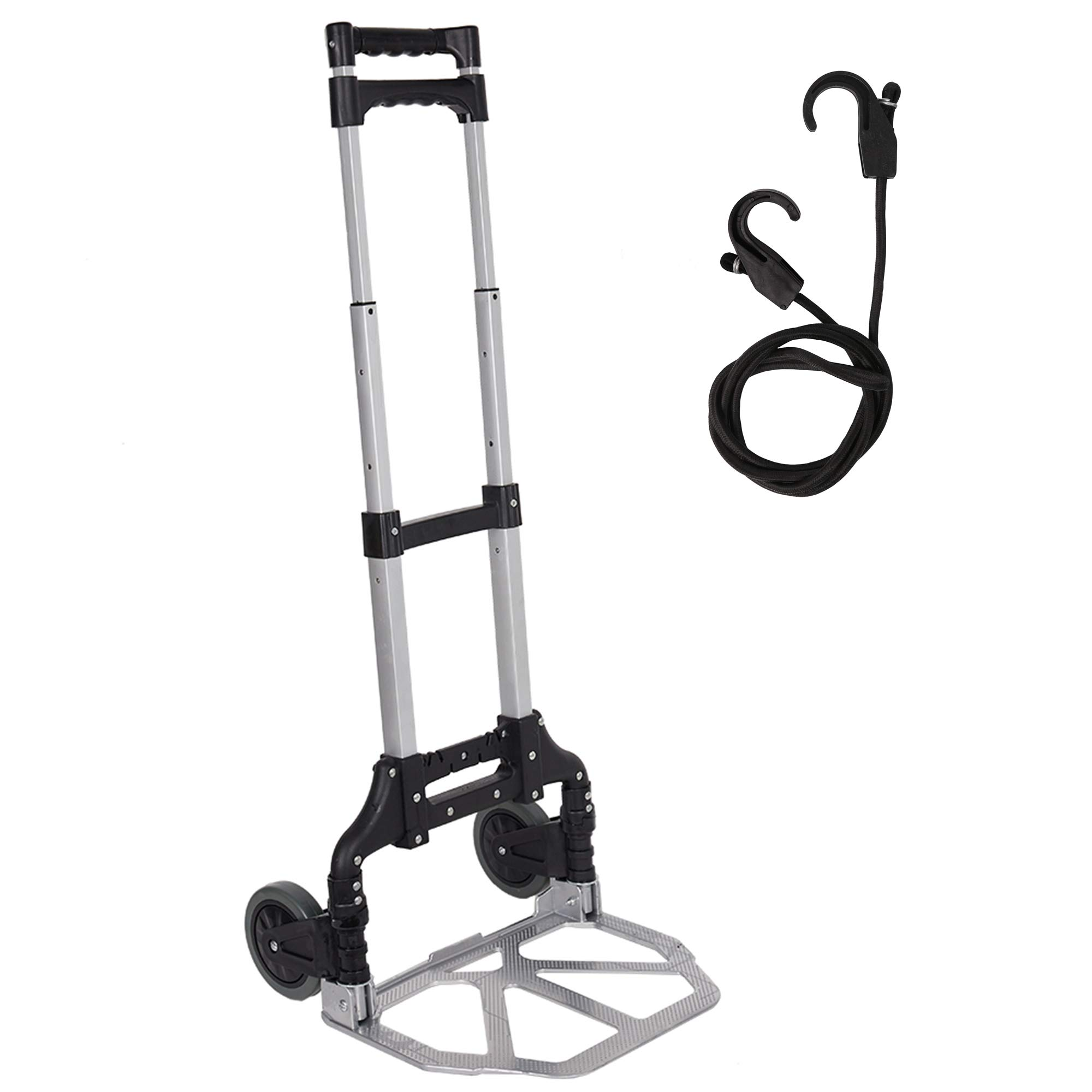 Lucky Tree Foldable Hand Dolly Rolling Hand Truck Cart with 2 Wheels Aluminum Luggage Trolley 170 Lbs Capacity