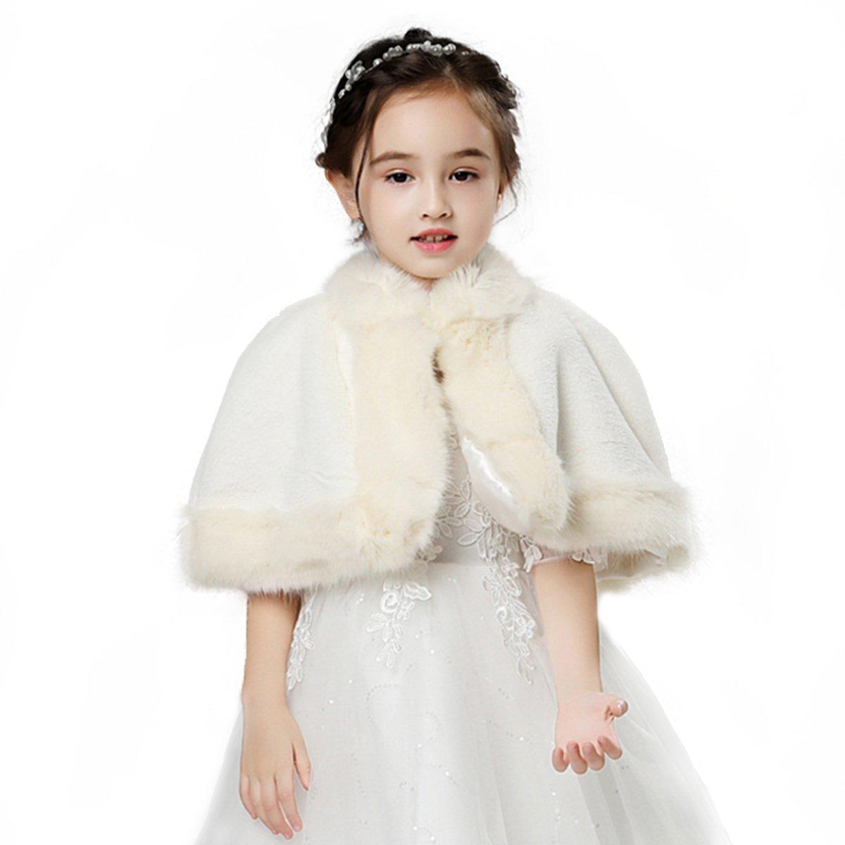 LMBRIDAL Flower Girl Faux Fur Wraps Wedding Cape Kids Shawl Lovely Wraps Ivory