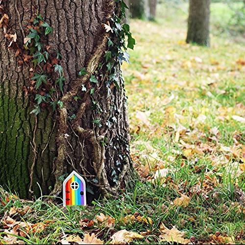 Keepfit 2021 New Miniature Fairy Gnome Home Door, Fairy Door for Tree Garden Fairies Sleeping Door Tree Statues Outdoor Wooden Statues Yard Art Garden Sculpture Decoration Tree Wall Lawn Decor (A)