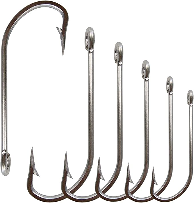 5PC Saltwater Fishing Hook Stainless Steel JIGGING HOOKS with Feather SJ46