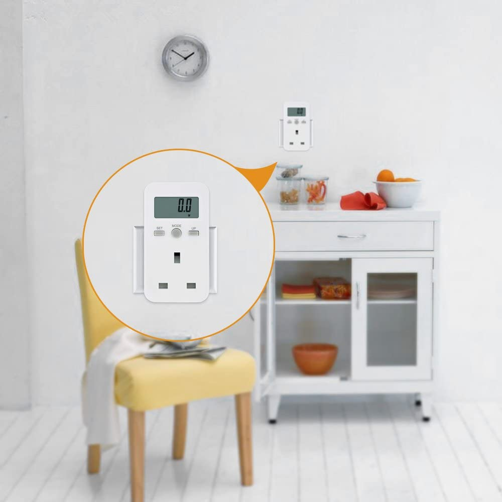 Roeam UK Plug Plug-in Digital LCD Energy Monitor Power Meter Electricity Electric Usage Monitoring Socket