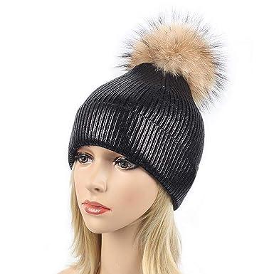 34b29e5e Ibeauti Womens Metallic Shiny Knitted Beanie Hats with Pom Pom Winter Ski  Cap (Black)
